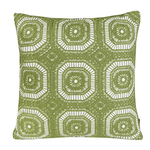 Mika Home Cotton Embroidery Geometric Circles Accent Decorative Pillow Case Cushion Cover for 18X18
