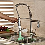 Rozin Deck Mount Single Hole Kitchen Sink Faucet LED Light Pull Down Sprayer Mixer Tap Brushed Nickel