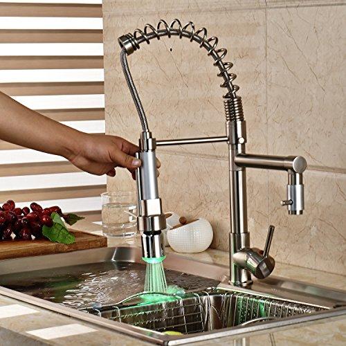 kitchen faucet led light nickel - 8