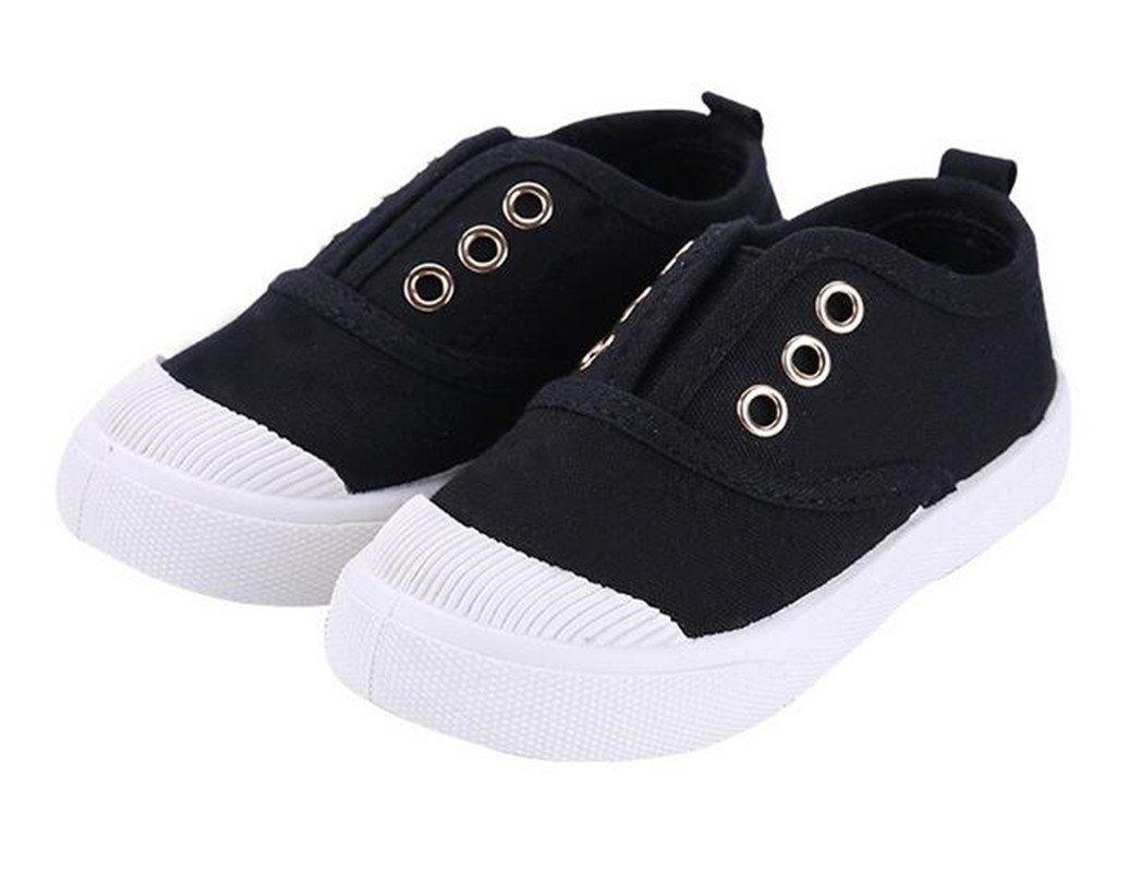 Bumud Kids Toddler Slip-on Antiskid Canvas Sneaker Boys Girls Casual Shoes (12 M US Little Kid, Black)