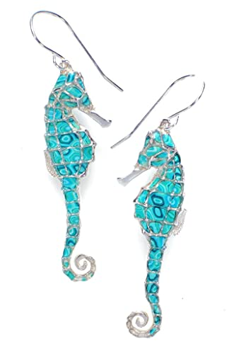 9f5f4afe7 Amazon.com: 925 Sterling Silver Seahorse Dangle Earrings Sea Green Polymer  Clay Handmade Jewelry: Jewelry