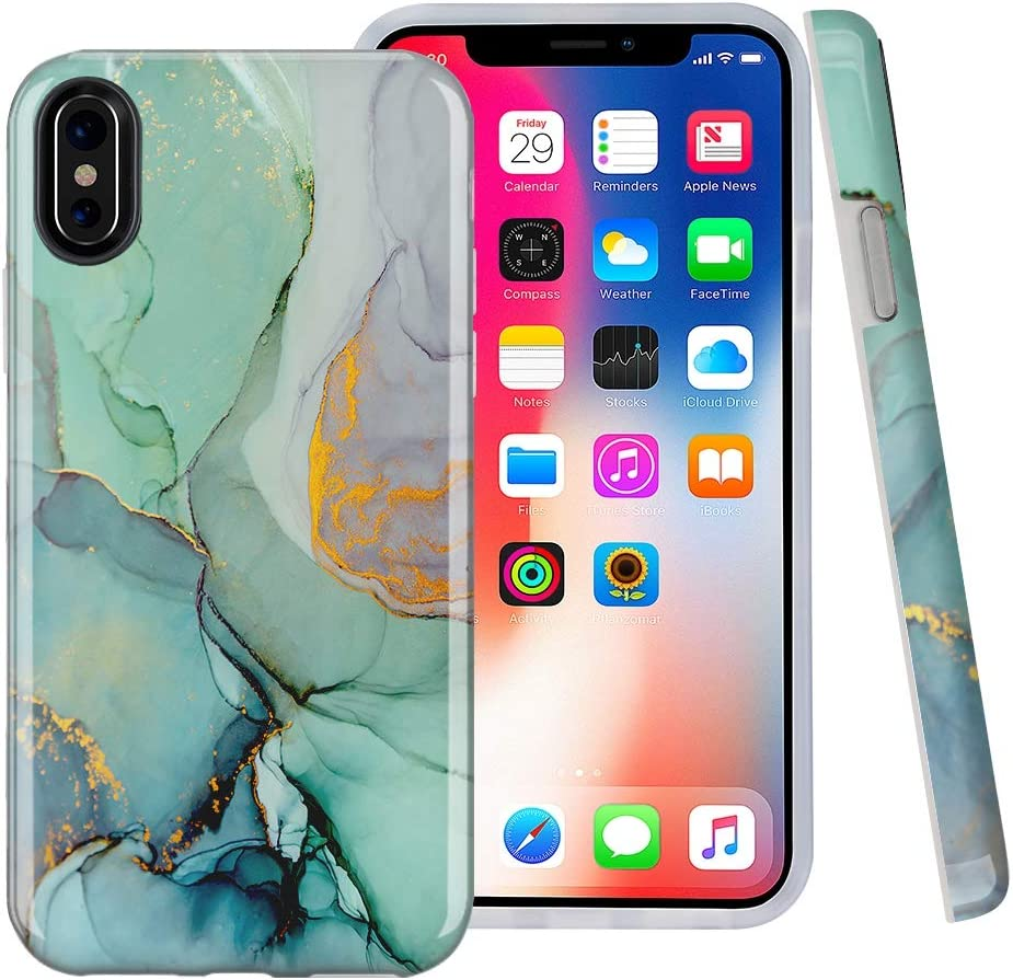 CaseSociety iPhone X case, iPhone Xs Case, Abstract Marble Paint, Slim Flexible Soft Silicone Bumper Shockproof Gel TPU Rubber Glossy Skin Cover Case for Apple iPhone X & XS