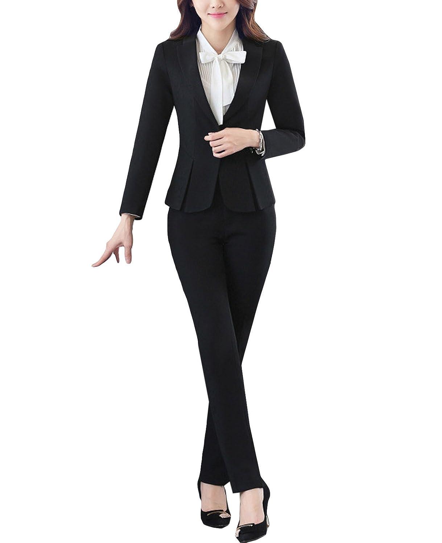 MFrannie Women Vintage 3-Packs Blouse Blazer and Pant Office Work Suit Set