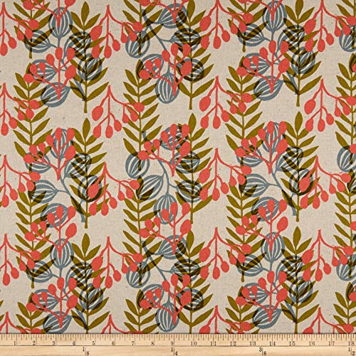 Cotton + Steel Imagined Landscapes Meadow Canvas Fabric, Coral, Fabric By The Yard