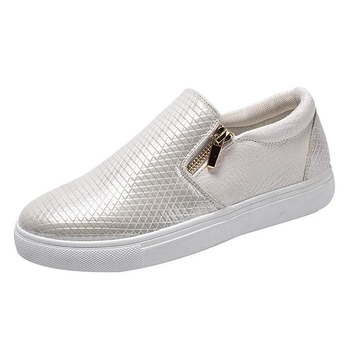 beautyjourney Zapatos Planos Casuales, Calzado de Correr para Mujer Zapatilla de Deporte de Fondo Suave Zapatillas Slip On Zapatos de Entrenador con Doble ...