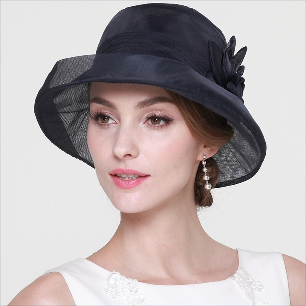 HU Spring and Summer Lady Sun Hat Silk Hat Fisherman Sun Protection Leisure Cap Traveling Hat (Color : Dark Blue)