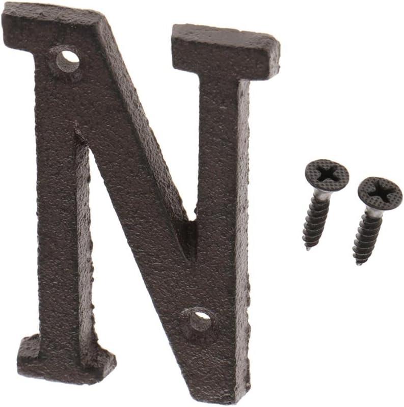 MagiDeal Gro/ße Metall Buchstaben Hausnummer Haus Zahlen Braun Gusseisen U