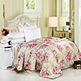 YU&AN Bedding Silk Quilt,European Quilt Anti-Wrinkle Bed Cover for Bedroom Resort Sofa-D 200x230cm(79x91inch)