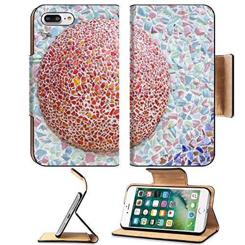 Temple Tulips (Luxlady Premium Apple iPhone 7 Plus Flip Pu Leather Wallet Case iPhone7 Plus 26103839 temple wall ornate with traditional chinese ceramic Phetchaboon Thailand)