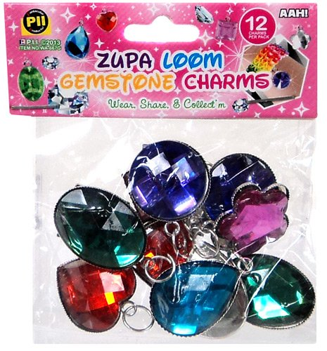 D.I.Y. Do it Yourself Bracelet Zupa Loomi Bandz Bracelet Charm 12-Pack [Gemstones] (Sun Ring Oval Diamond)
