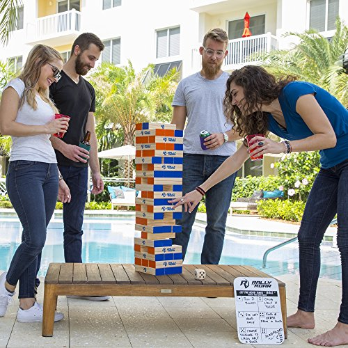 Rally and Roar Toppling Tower - Giant Tumbling Timbers Game - 2.5 feet Tall (Build to Over 5 feet) Premium Wood Version - For Adults, Kids, Family - Stacking Blocks Set w/Canvas Bag