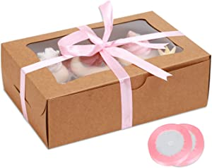 Cupcake Boxes 6 Count Standard Cupcakes, 9.8x6.7x3 Large Size Kraft paper Individual cupcake boxes, with insert Cupcake Holder, Food Grade Treat Boxes for Cookies Pastry (15Sets with Window)