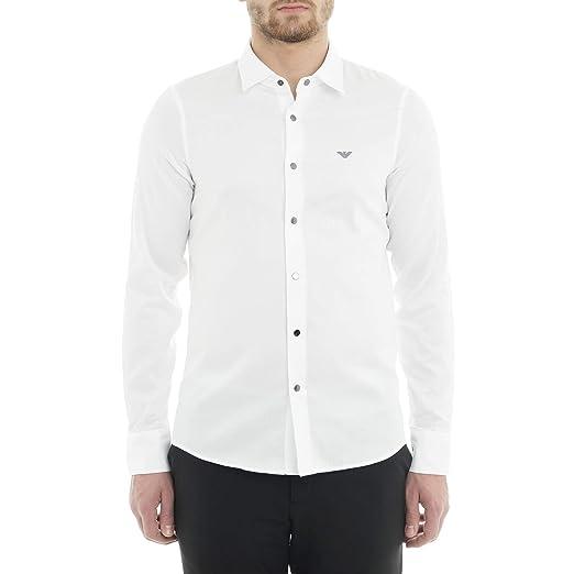 b2b0bb2976 Emporio Armani Cotton Stitched Logo Long Sleeve White Shirt XL White ...