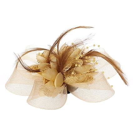 Azafrán,plumas,perlas,telaraña,broche,gorra,corbata de novia ...