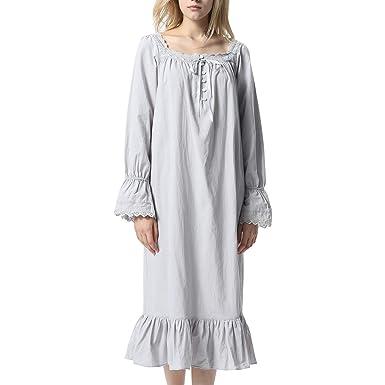 00fd2c4eda ACMEDE Women s Cotton Long Sleeve Sleepwear Dress Victorian Vintage Style  Bell Sleeve Nightgown Sleepwear S