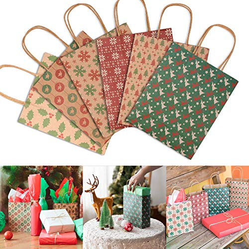 Muscccm Christmas Kraft Gift Bags, 24 Pack of Christmas Goody Bags with Assorted Christmas Prints for Kraft Bags, Xmas Gift Bags, School Classrooms and Party Favors