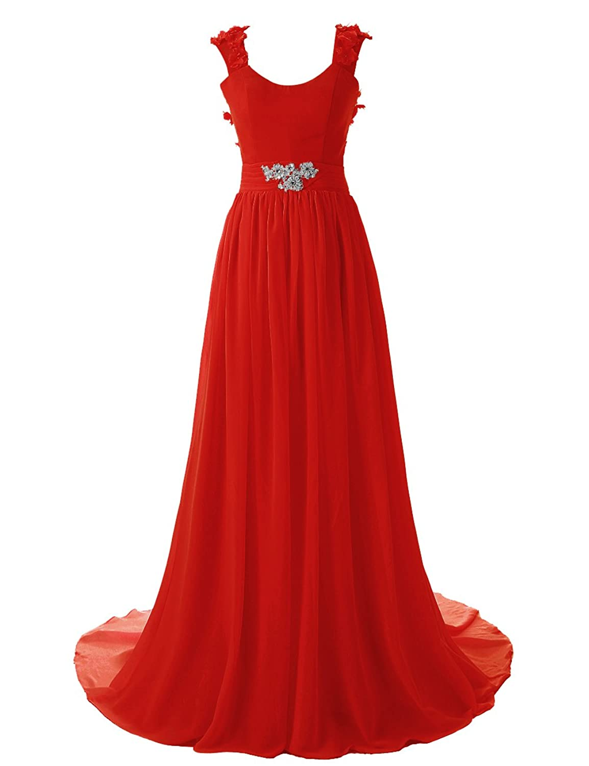 Dressystar Bodenlanges elegantes Ballkleid fashion Brautjungkleid Chiffon Rot in Gr??e 46W
