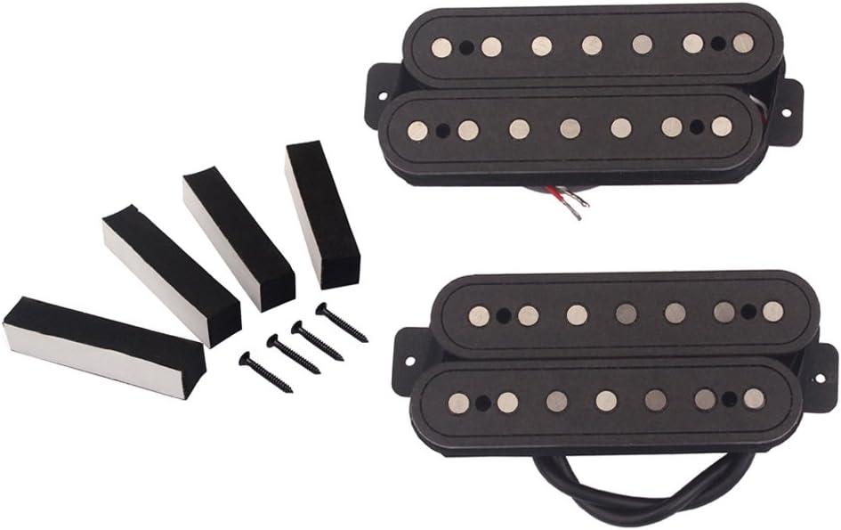 H HILABEE 2 Piezas Negro POM Humbucker Pickup Alnico V Screw Mat Para Piezas De Guitarra De 7 Cuerdas