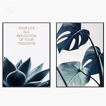 XINGMUZSH Pintura Decorativa Pintura Artística De Alta Definición Hojas Y Letras Verdes (2 Piezas/