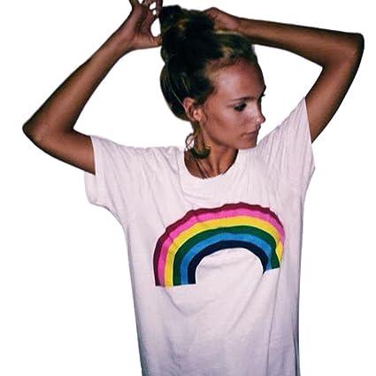 cb38f276fe8 Iusun Women Rainbow Print Short Sleeve Tops Casual Loose Blouse T-Shrit Tee  (White