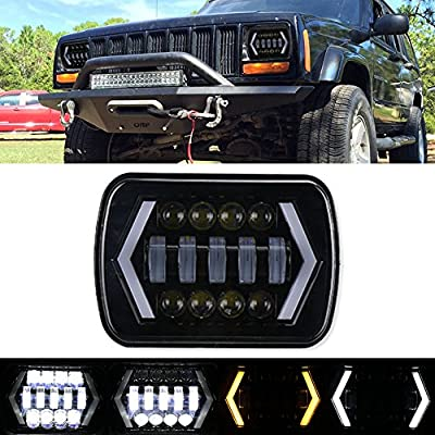 7x6 inch Halo LED Headlights, 5x7 inch Square LED Headlamp with Arrow Angel Eyes DRL Turn Signal Light Replaces H6054 H5054 H6054LL 69822 Fit Trucks Jeep Wrangler XJ YJ Sedans GMC - Smoked Lens
