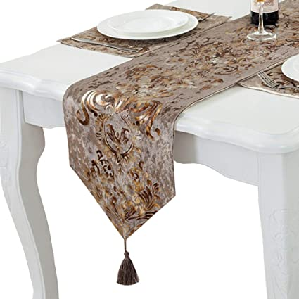 Amazon Com Phnam Floral Suede Table Runner And Placemat Set With
