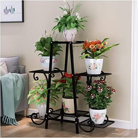 Amazon Com Ryyaiyl Flower Stand Rack Floor Flower Shelf Wrought Iron Multi Layer Indoor Balcony Living Room Plant Stand Potted Simple Color Black Size 812583cm Garden Outdoor