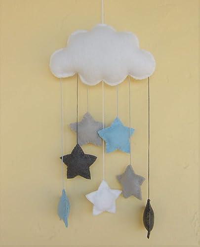 Grau Und Blau Baby Mobile Wolke Sterne Vegan Amazon De Handmade