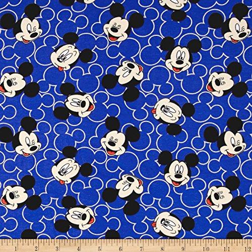 E. E. Schenck Disney Mickey Mouse Face Toss Jersey Knit, Blue