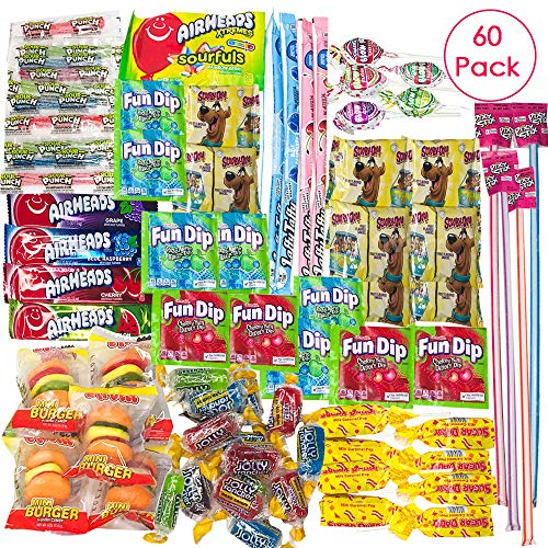 Ultimate Variety Candy Package -60 Count Assortment Sampler Bundle- Perfect Gift for College Dorm, Military Care Package or Office! (Including Laffy Taffy, Scooby Snacks, Mini Burger,Airheads & -