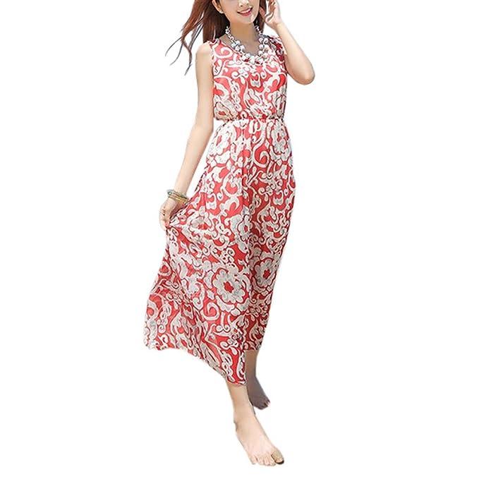 Vestido de verano de estilo bohemio de playa floral maxi vestido de fiesta para vacaciones,
