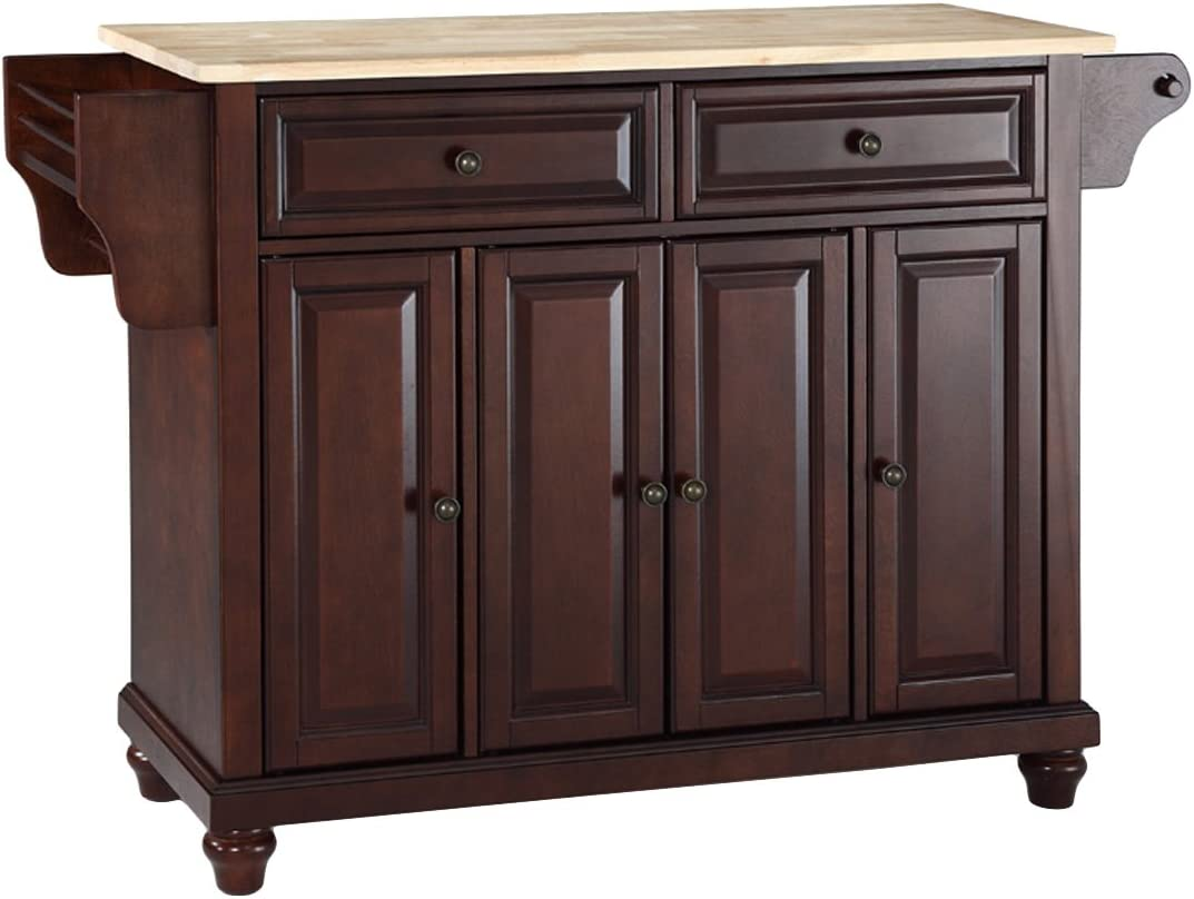 Crosley Furniture Cambridge Full Size Kitchen Island with Natural Wood Top, One, Vintage Mahogany