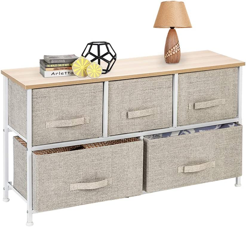 Azadx Wide Dresser Tower with Drawers, Nightstand End Table with Removable Fabric Bins, Sturdy Steel Frame and Wood Top, Dresser Organizer for Home use (2-Tier 5-Drawer, Linen/Natural)