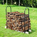Earth Worth 83-DT5202 Adjustable Firewood Log Rack | up to 16 ft | Black