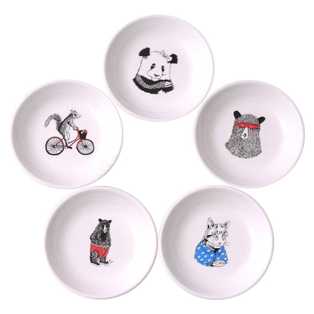 ornerx 5PCS Ceramics Appetizer Plates Funny Animal Pattern Dessert Plates