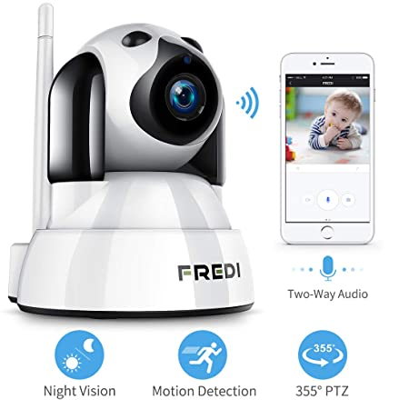 FREDI Baby Monitor,Pet Camera- Wireless Security Camera with Night Vision Two Way Audio PTZ Motion Detection,2.4G WiFi IP Camera Indoor Surveillance Camera for Nanny Pet Dog Camera with Phone APP