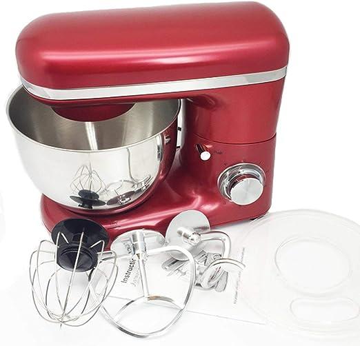 1500W 4L Tazón de acero inoxidable Cocina de 6 velocidades Mezclador de soporte de comida Crema Batidor de huevo Batidora Mezcladora de masa Máquina para hacer pan (Rojo y Plata) ESjasnyfall: Amazon.es: