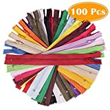 Paxcoo 100Pcs 9 Inch Nylon Coil Zippers Bulk for Sewing Crafts (Assorted Colors)