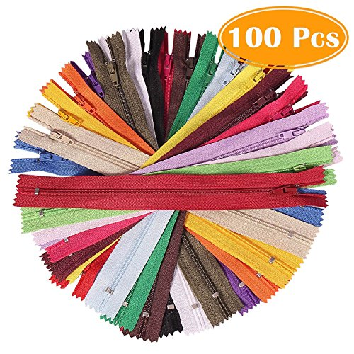 Paxcoo 100Pcs 9 Inch Nylon Coil Zippers Bulk for Sewing Crafts (Assorted Colors) ()