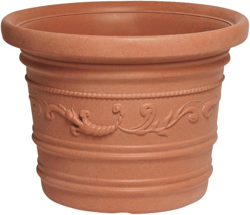 SATURNIA 8093415 Macetero Resina Redondo, Color Terracota, Resistente, Ideal Exterior, Diametro, Ø 50 cm