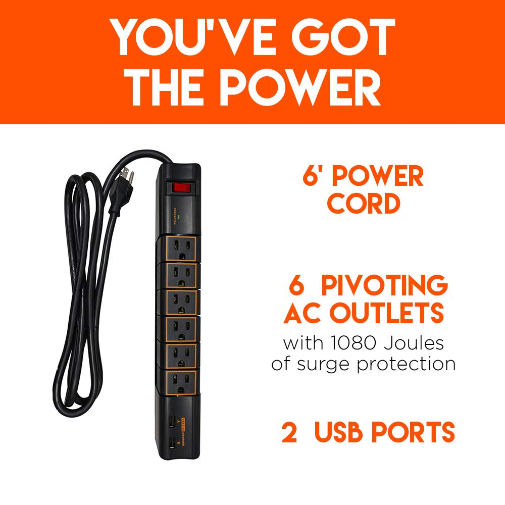 Echogear Rotating Surge Protector Power Strip with 2 USB Ports & 6 Rotating AC Outlets - 1080 Joules of Heavy Duty Surge Protection with Long Power Cord & Wall Mounting Holes by ECHOGEAR (Image #2)