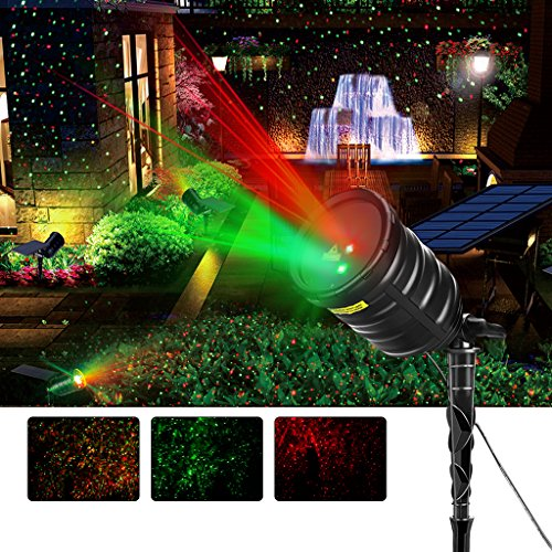 Suaoki Solar Projector Lights Red/Green Star Lights Laser Light Waterproof with Built-in 2600mAh Battery, Remote Control, Timer for Holiday Party Garden Decoration Christmas Xmas Halloween - Holiday Laser