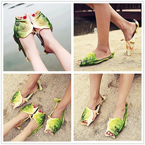 FiveStoresCity Animal Fish Slippers Beach Shoes Slides Sandals Men Women Kids Summer Non-Slip Flip Flops Gag Gifts (9 US Women/8-8.5 US Men=EUR 42, Green) by FiveStoresCity (Image #7)