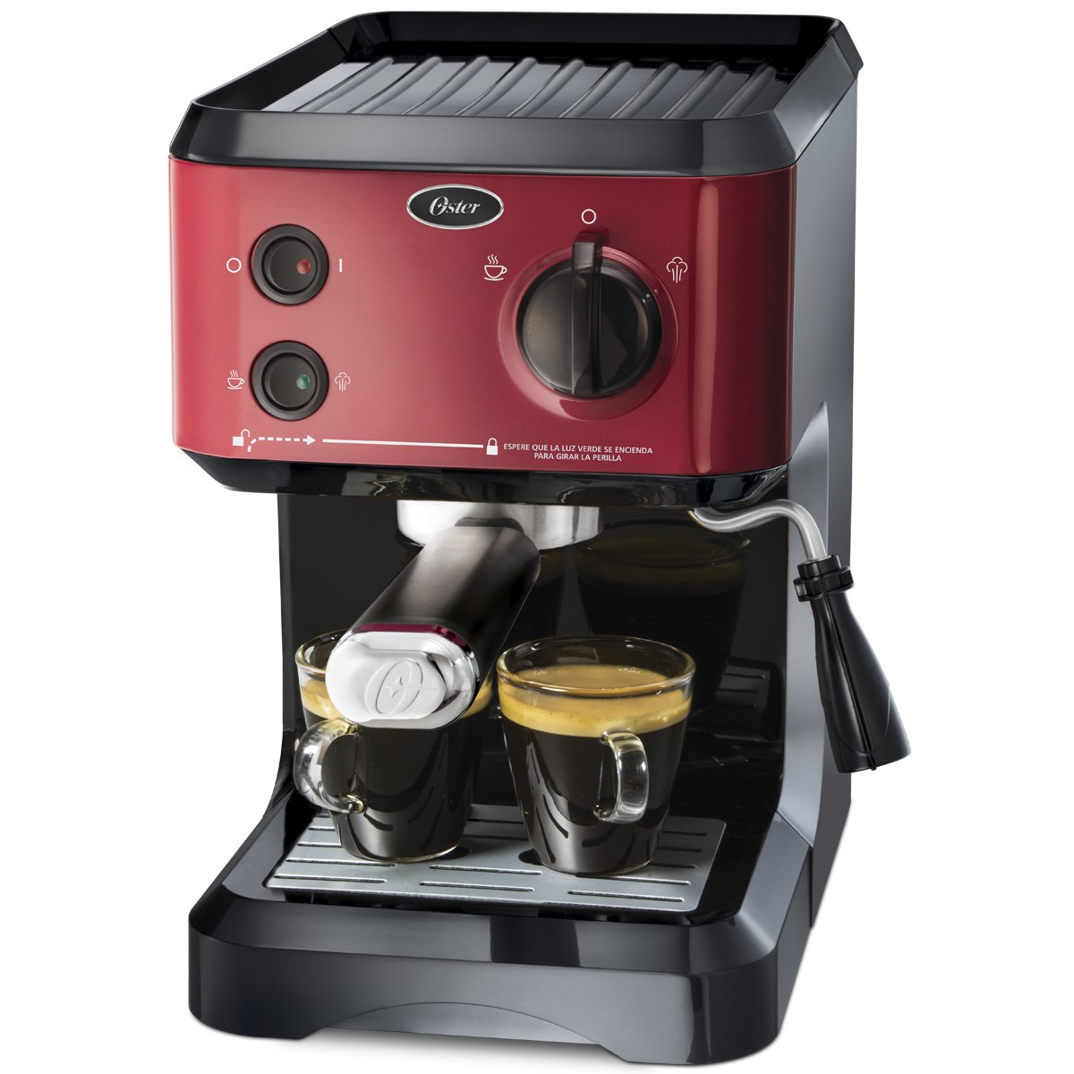 Cafetera Oster® para espresso y capuccino roja de 19 bares