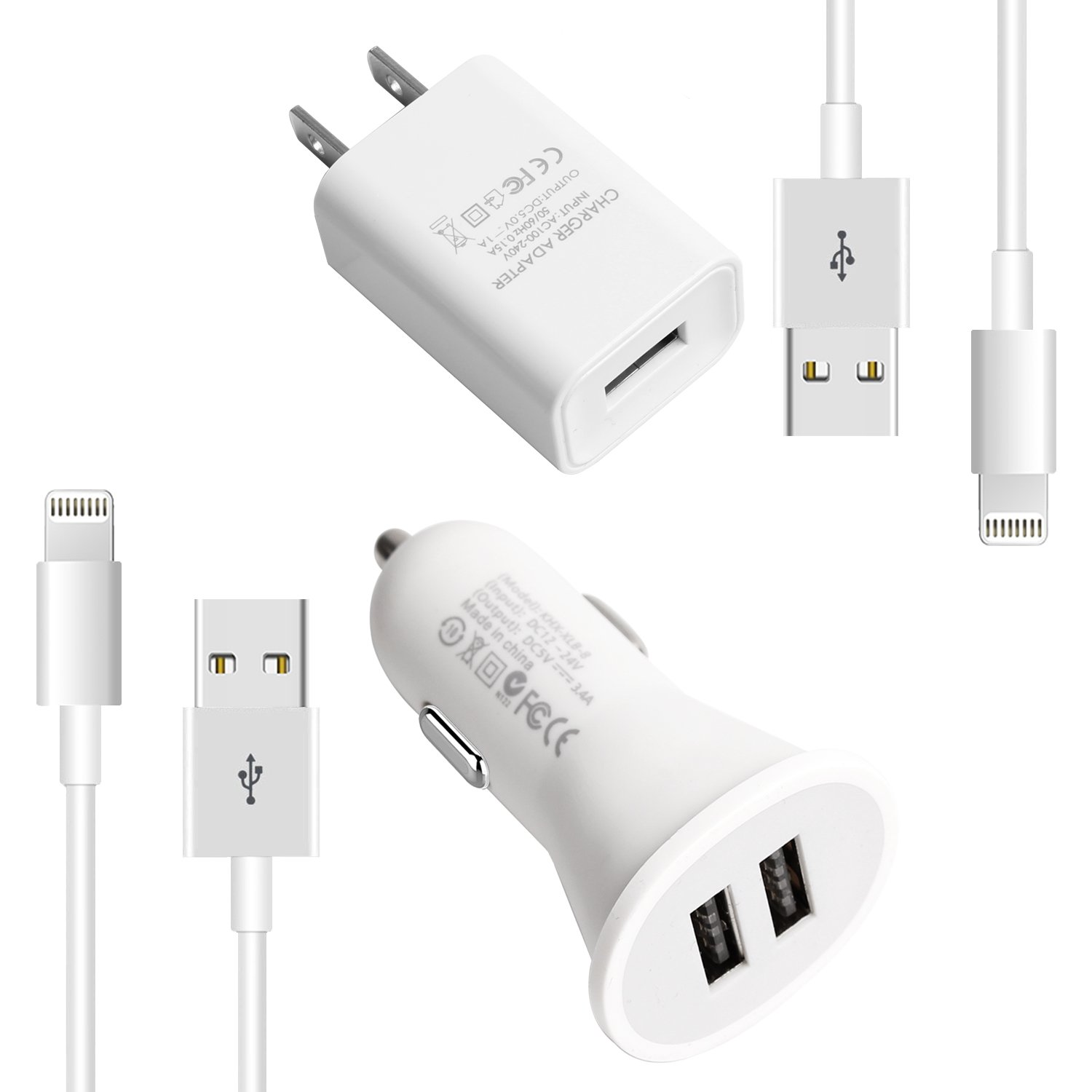 youcoulee Phone Charger Kit (Dual USB Car Charger+Wall Charger+2 X Lightning Cables) Compatible with iPhone X /8/7 / 6s / 5s /Plus, iPad Pro/Air 2 / Mini and More