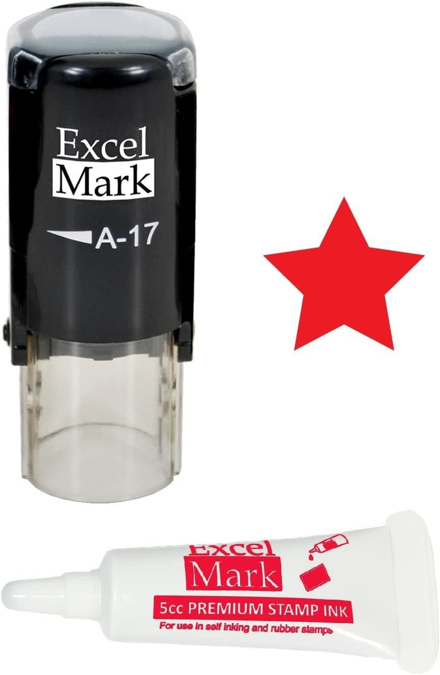 Round Teacher Stamp - Solid Star - Red Ink with 5cc Refill Ink