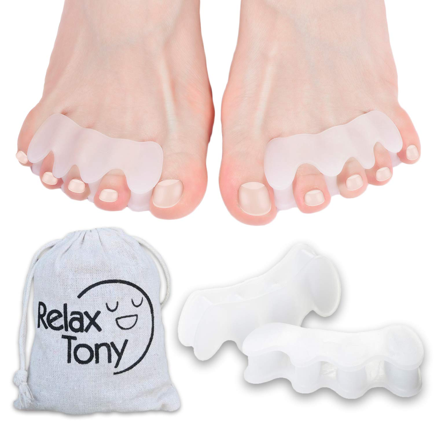 Anatomical Toe Separators, Straighteners & Spacers For Fitness and Wellness Use | Correct Your Toes Naturally | Great for Pedicure, Bunion Corrector & Yoga by Relax Tony