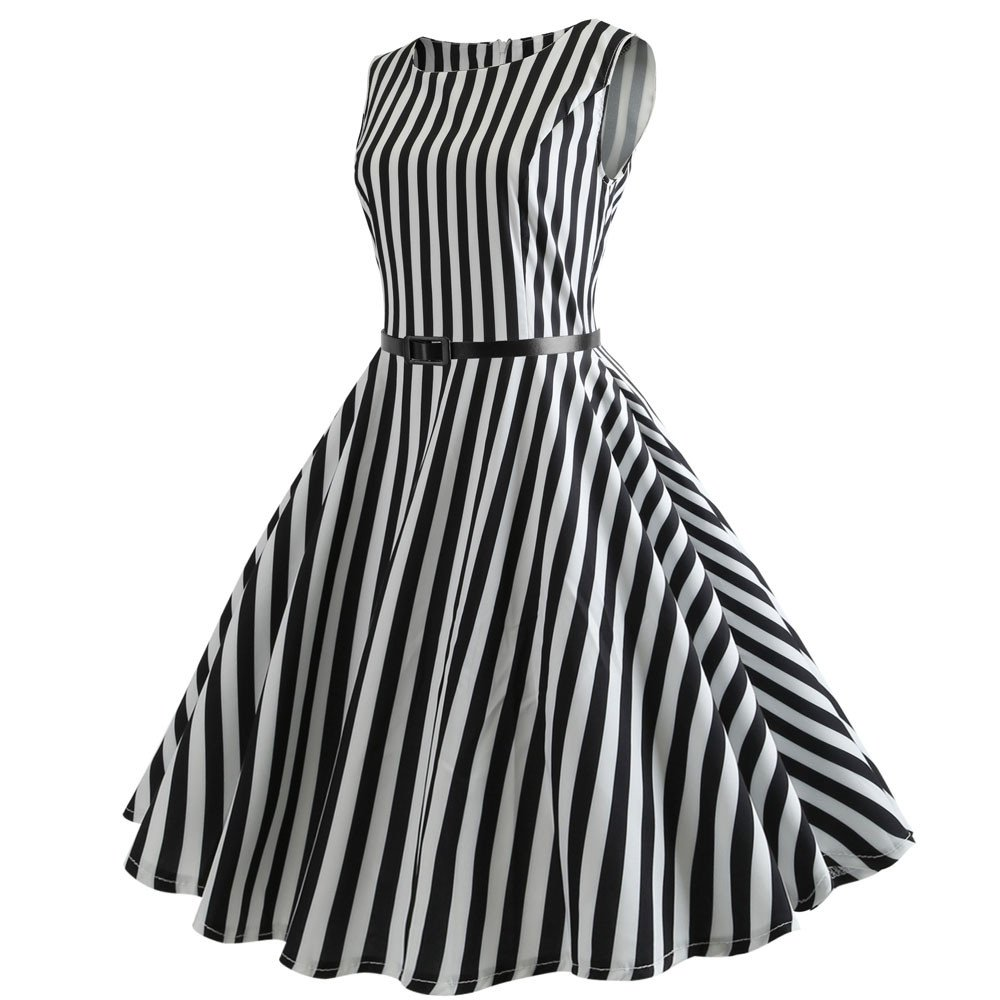 Dressffe Audrey Hepburn Dresses for Women, Black and White Strip Zebra Vintage Pleated Sleeveless Summer Dress with Sashes (S)