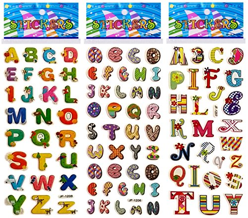 6 Sheets Puffy Dimensional Scrapbooking Party Favor Stickers + 18 FREE Scratch and Sniff Stickers - ALPHABET LETTERS