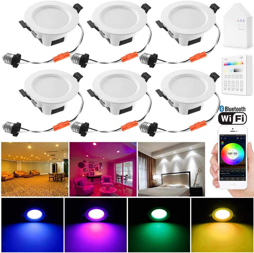 Sumaote Smart LED Recessed Lighting, 6pcs 3 Inch 5W Bluetooth Mesh LED Downlights Kit WiFi & Bluetooth Control RGBCW 2700K-6500K Color Changing Ceiling Lighting for Home Bedroom Decor
